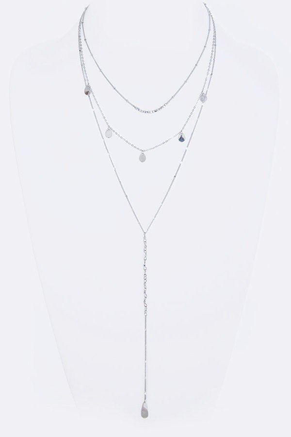 Teardrop Fringe Disk Layered Necklace