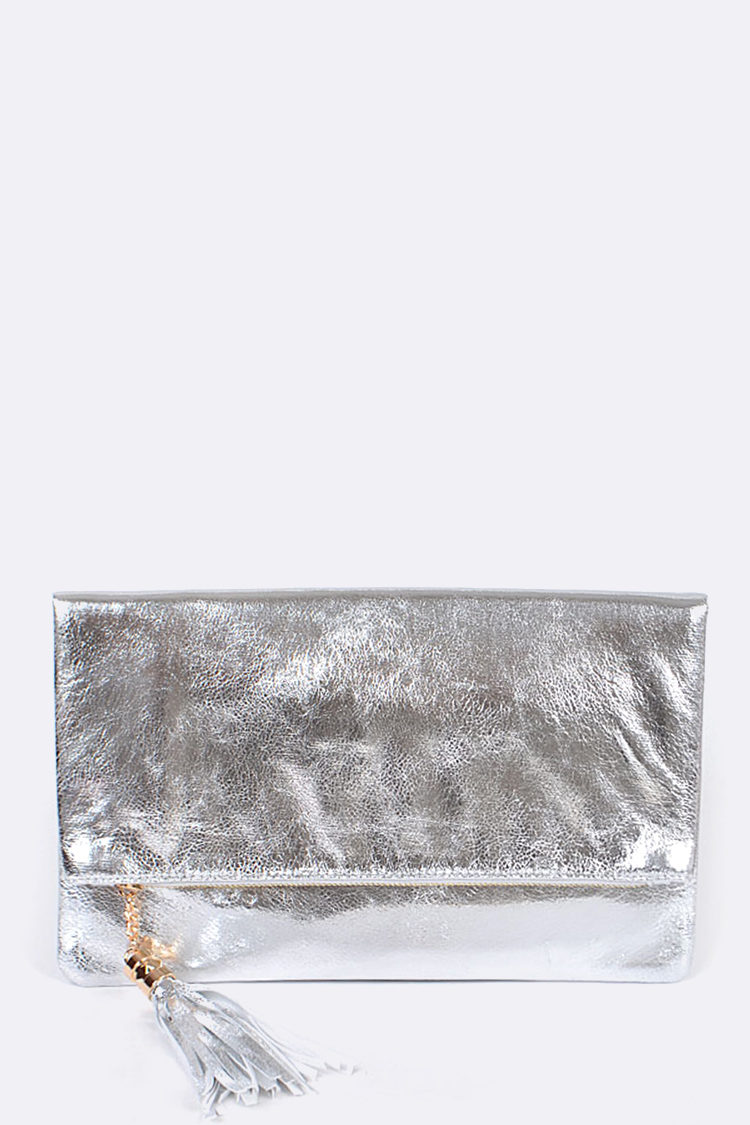 Patent Leather Folder Soft Clutch Bag