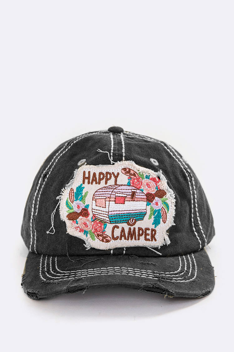 Happy Camper Embroidered Vintage Wash Cap