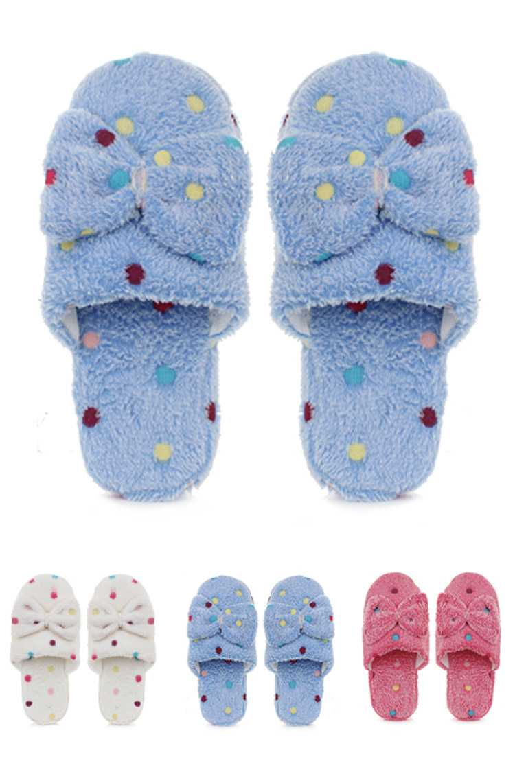 Polka Dot Bow Terry Indoor Slippers Set