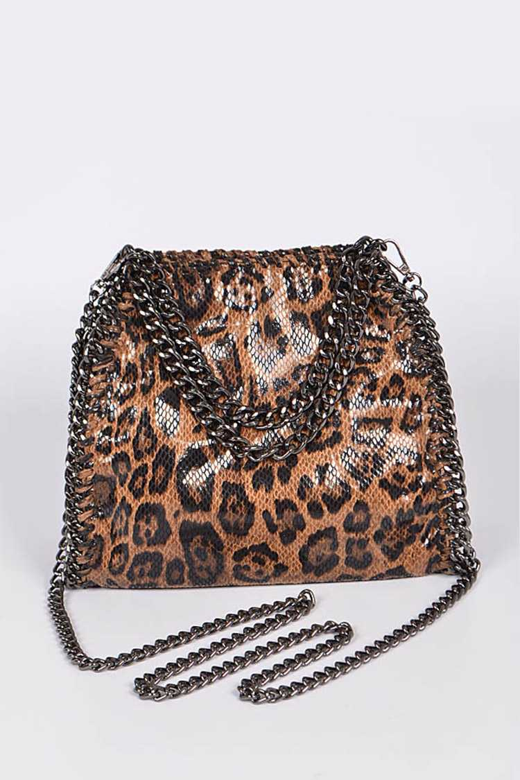 Leopard Printed Chunky Chain Convertible Shoulder Bag