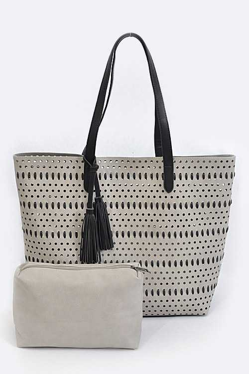 Perforated Leather Tote with Mini Pouch
