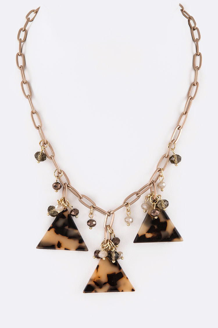 Celluloid Triangle Drop Iconic Necklace