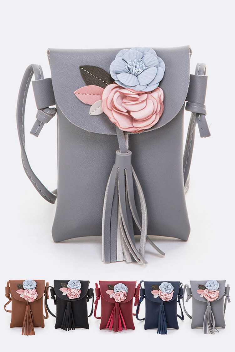 Flower Tassel Crossbody Swing Bag