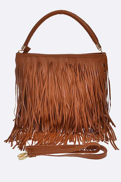 Fringe Leather Top Handle Shoulder Bag
