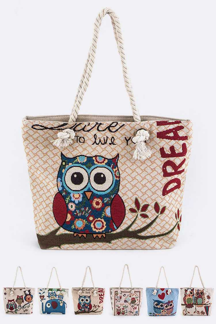 Assorted Comic Owl Print Canvas Tote Bags