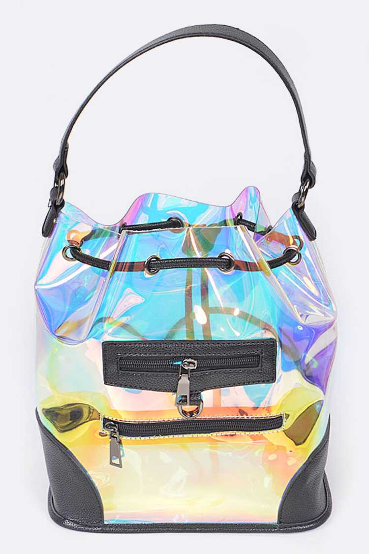 Reflective Clear Bucket Bag