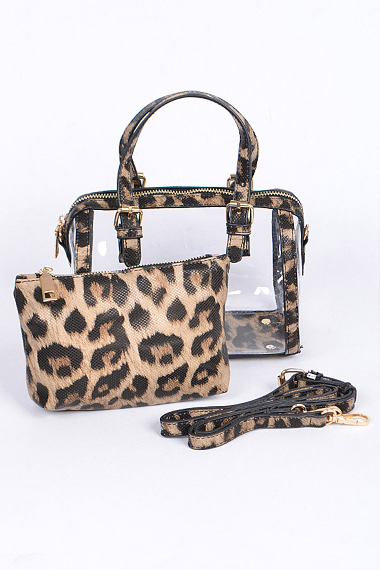 Leopard Printed Convertible Clear Bag