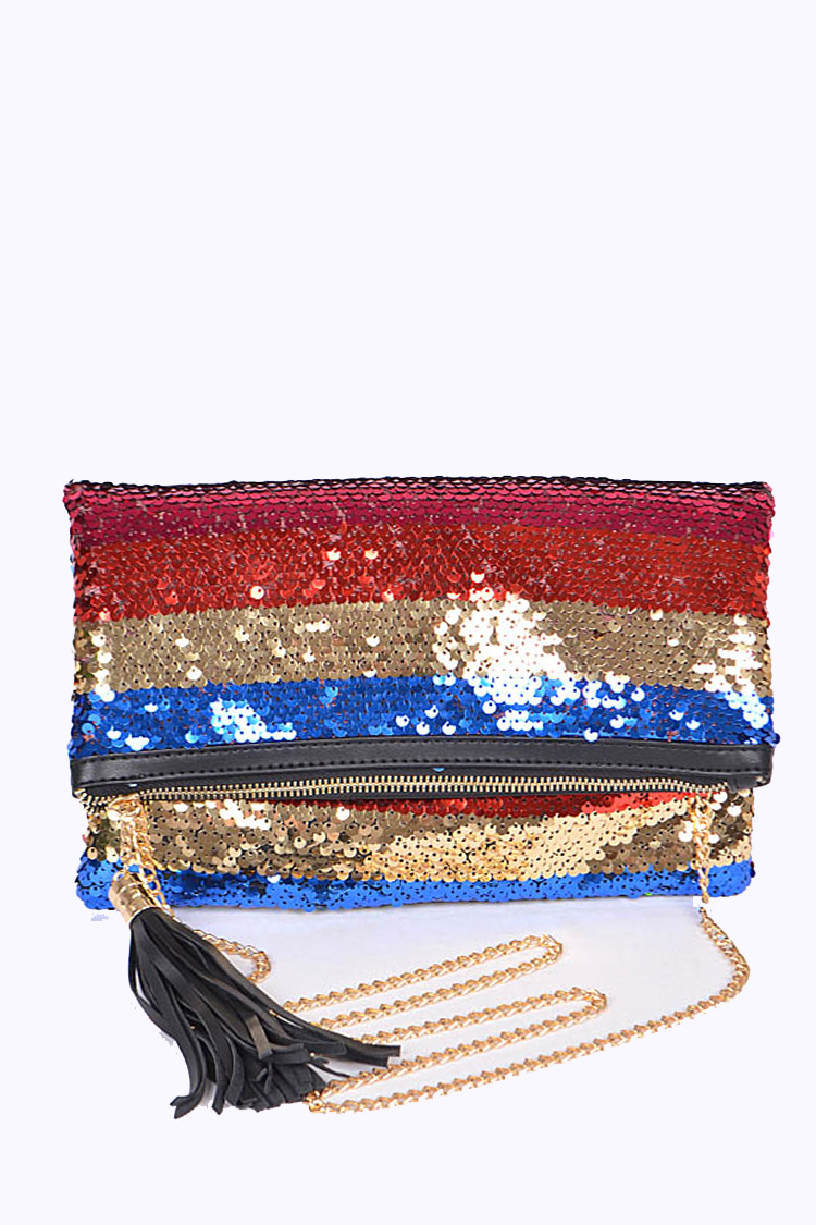 Sequins Mix Color Convertible Clutch