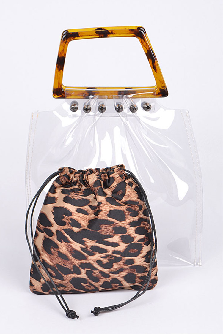 Leopard Pouch 2 In 1 Tortoise Handle Clear Bag