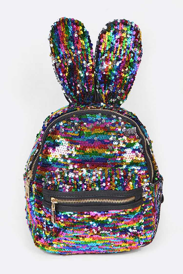 Multi Color Sequin Bunny Iconic Back Pack