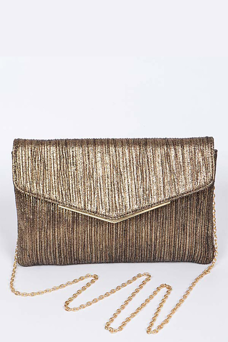 Lurex Pleated Convertible Clutch Bag