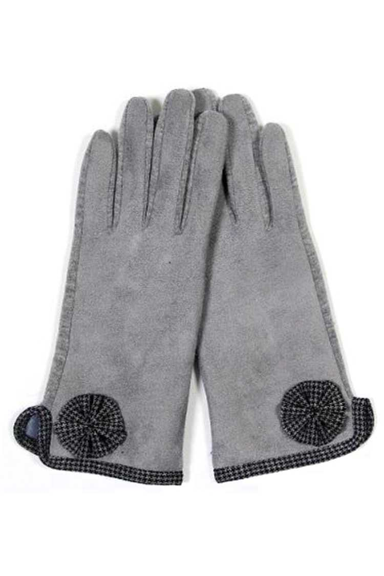 Houndstooth Bow Touch Screen Gloves