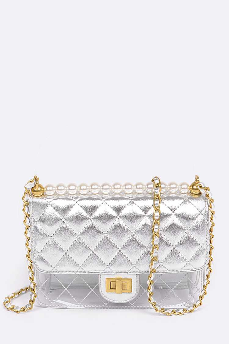 Metallic Quilted Clear Shoulder Bag