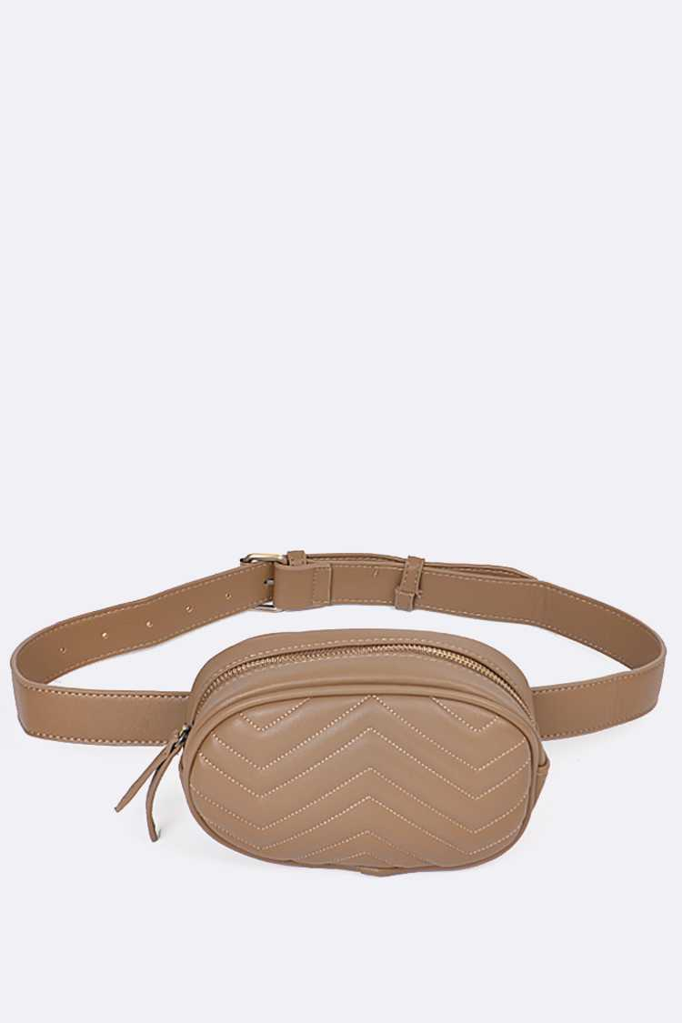 Chevron Stitched Fanny Pack