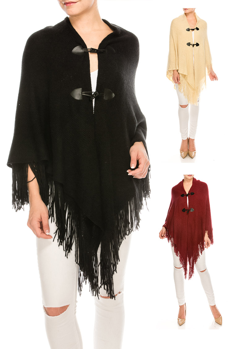 Double Button Fringe Cape Poncho