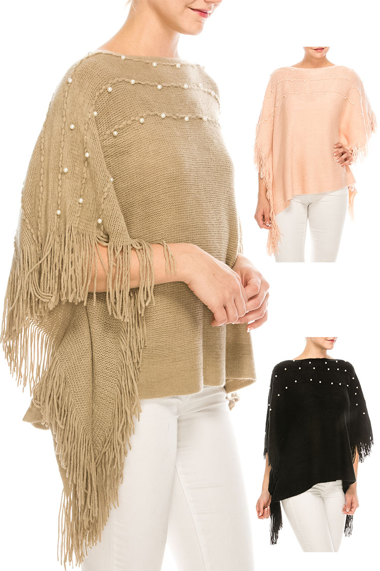 Pearl Accent Fringe Knit Poncho