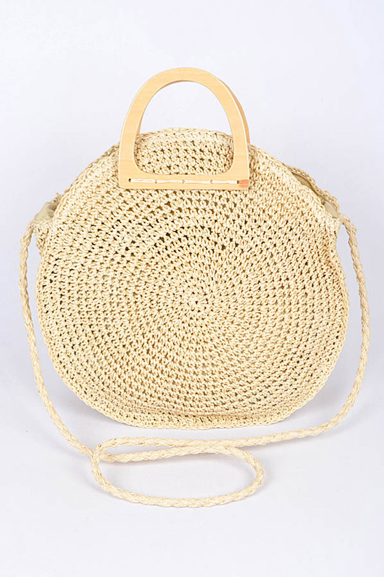 Wooden Handle Round Straw Bag