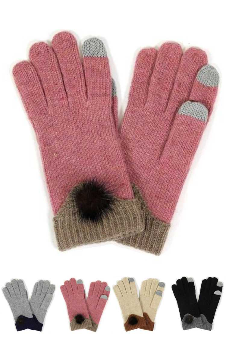 Soft Fur Pom Accent Touch Screen Gloves