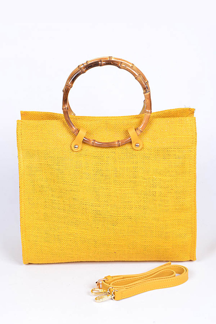 Bamboo Top Handle Straw Tote