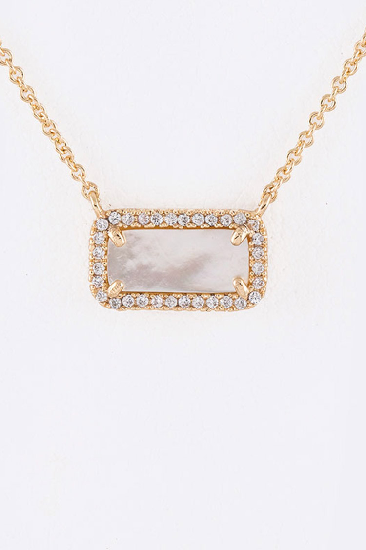 Mother Of Pearl Crystal Pendant Dainty Necklace