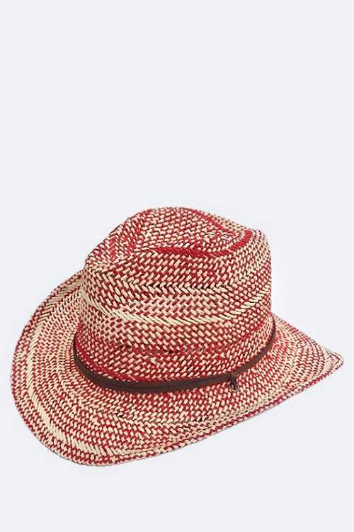 2 Tone Mix Weaved Straw Hat
