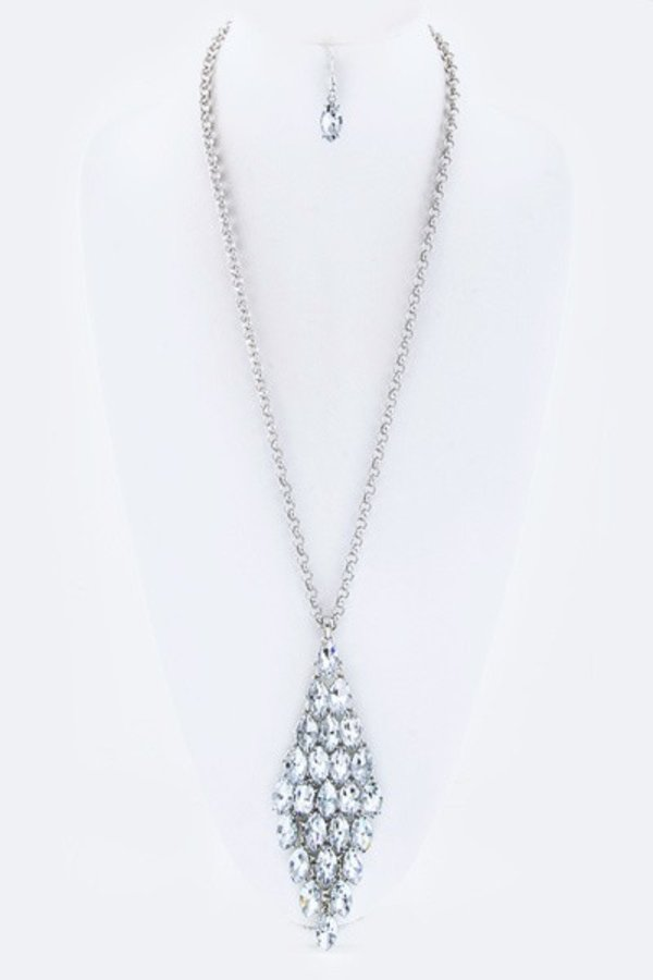 Layered Crystals Iconic Pendant Long Necklace Set