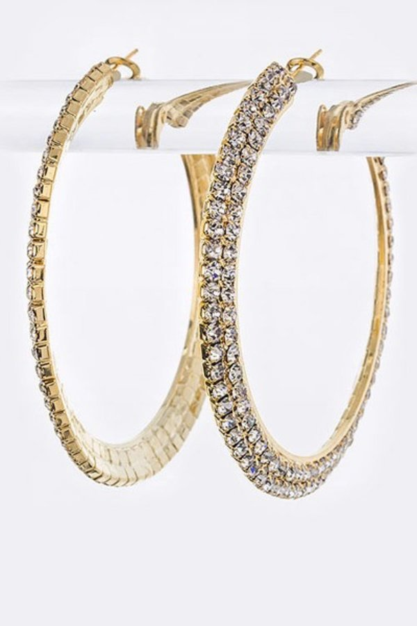2 Rows Crystal Hoop Earrings-