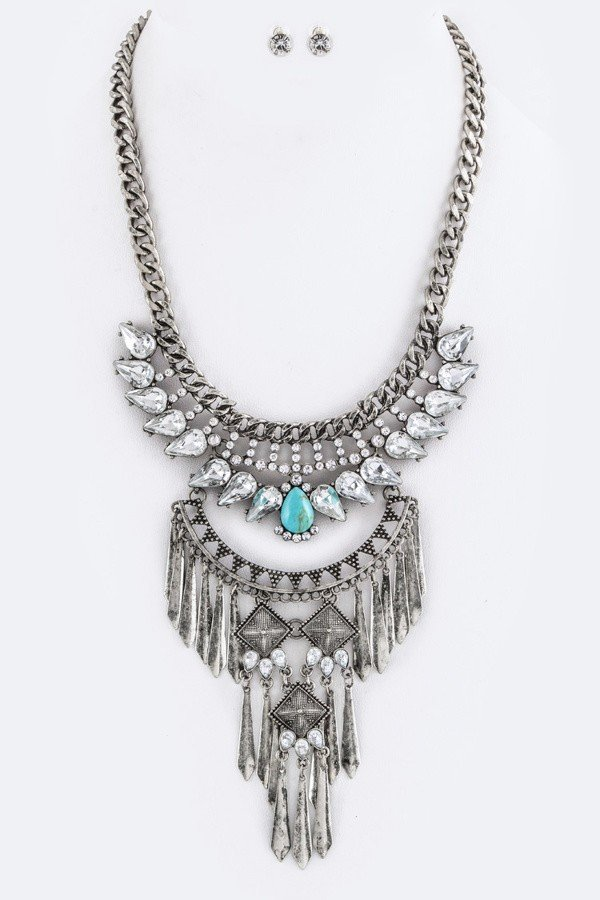 Crystals & Fringe Bars Tribal Bib Necklace Set