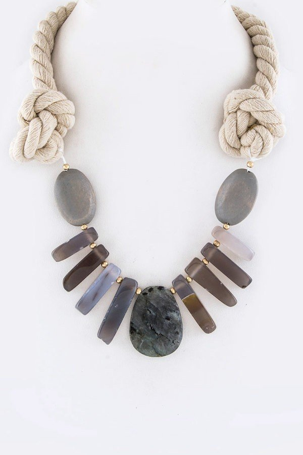 Mix Stone & Wooden Pebble Self-Knot Rope Necklace