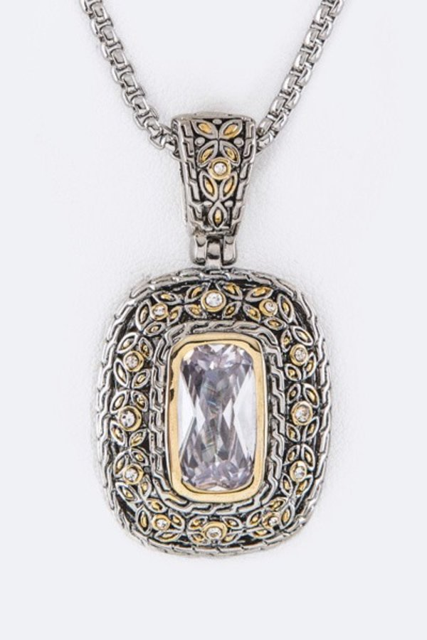 Framed Designed CZ Pendant Necklace