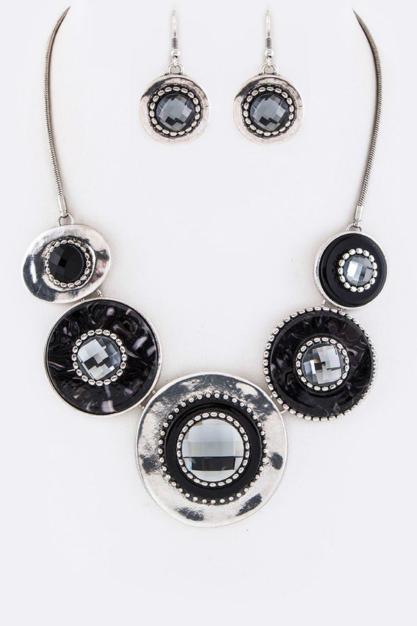 Pave Crystal Disks Statement Necklace Set