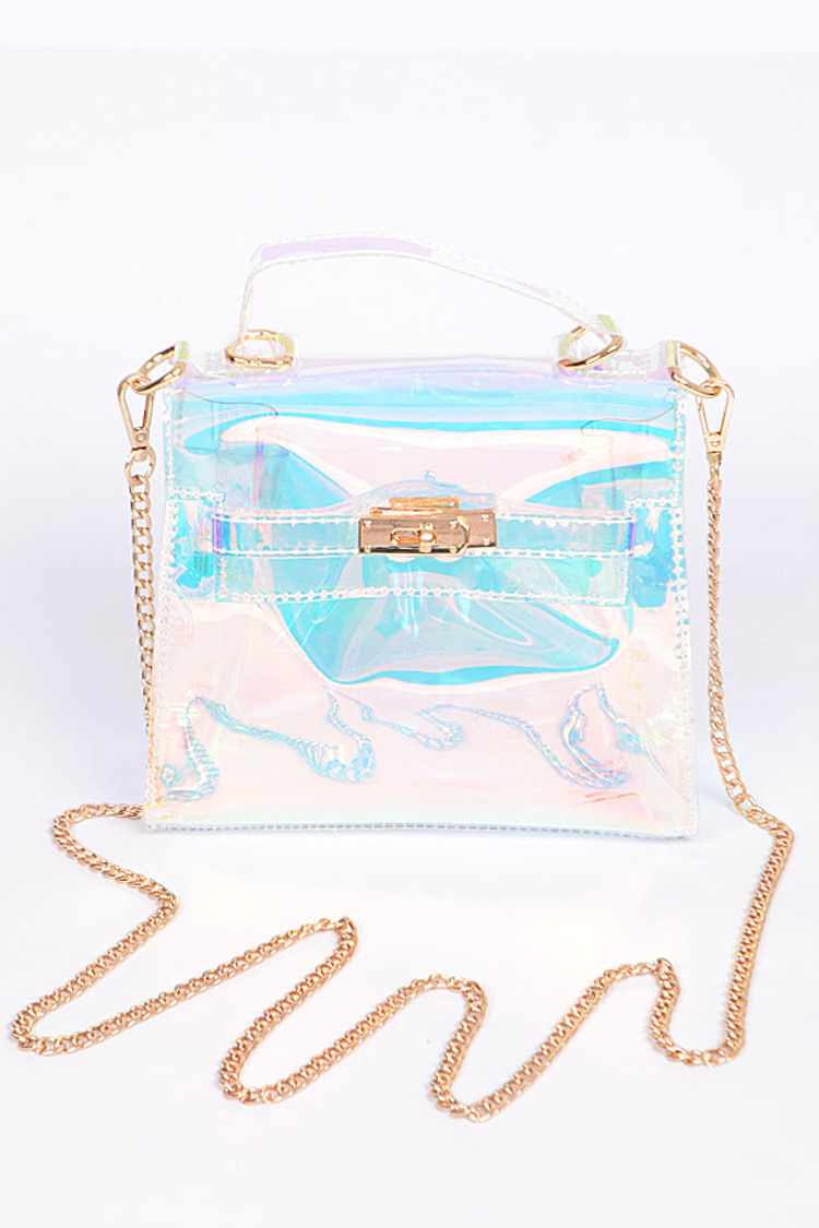 Turn Lock Structured Clear Mini Bag