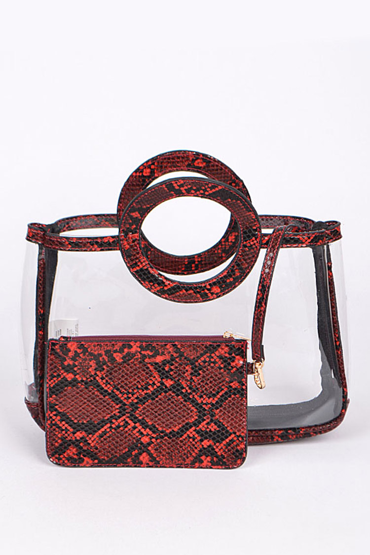 Embossed Python Top Handle Clear Bag Set