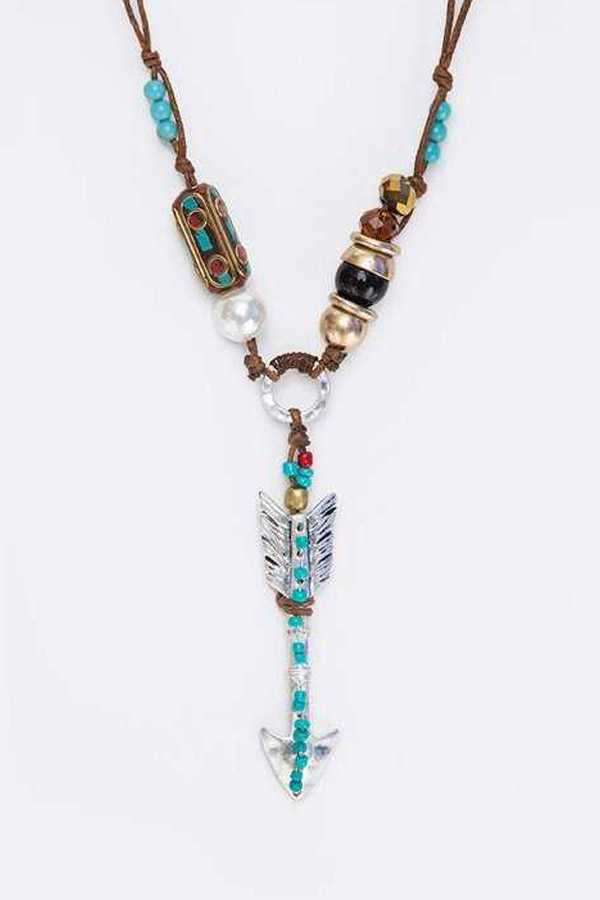 Turquoise Arrow Beaded Necklace Set