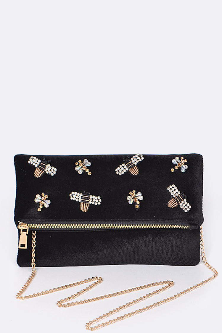 Crystal Bees Fold Over Envelope Clutch Bag
