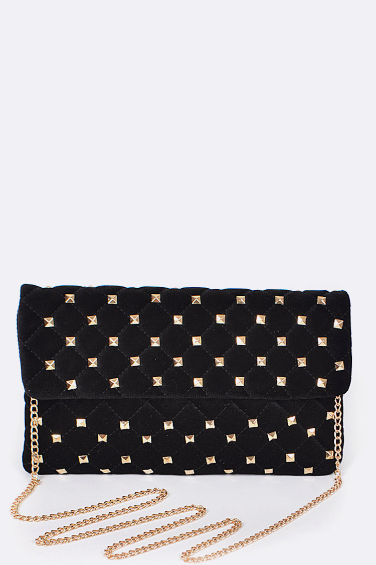 Quilted Studded Envelope Clutch Bag