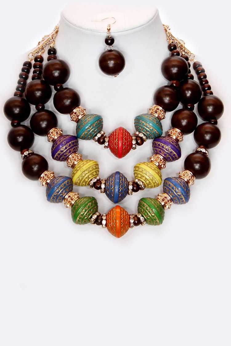 Mix Color Wooden Beads Layer Necklace Set
