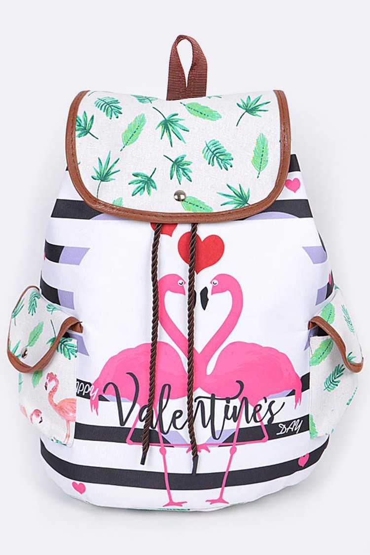 Flamingo Print Fashion Backpack