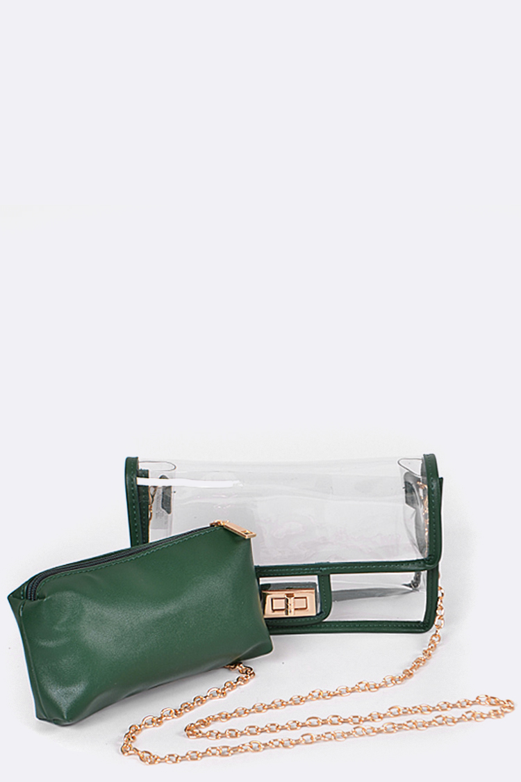 Clear Vinyl Soft Clutch with Inner Pouch