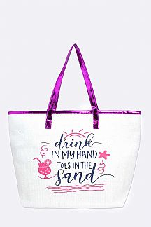 Drink In My Hand Straw Summer Tote