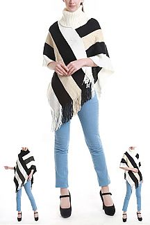 Multi Tone Stripes Fringe Poncho