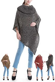 Mix Knit TurtleNeck Poncho
