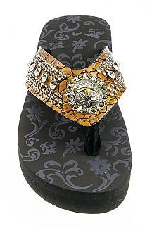 Iconic Bull Concho & Mix Studs Fashion Flip Flops