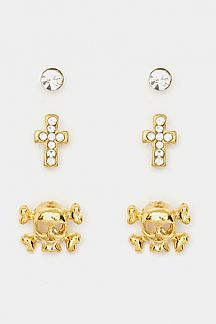 Skull Earrings Set