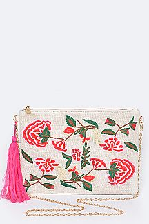 Floral Patched Convertible Clutch Bag