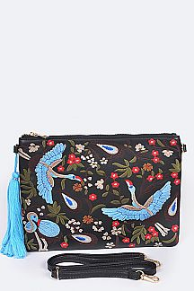 Birds & Flower Embroidery Clutch