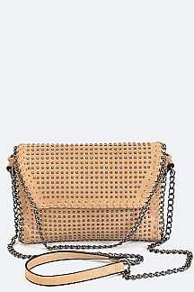 Studs & Laced Chain Clutch Bag