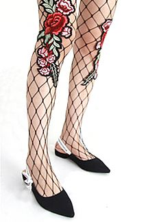 Rose Embroidery Fishnet Tights