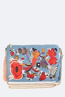 Birds Embroidery Convertible Clutch Bag